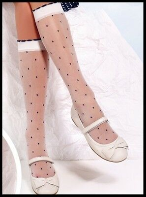 Girls White Dotted Frill Communion Bridesmaids Knee High Tights Socks 6 - 10 Y • 1.99£