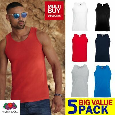 £14.49 • Buy PACK OF 5  MENS FRUIT OF THE LOOM Plain Athletic Vest Tank Top  Gym Sports
