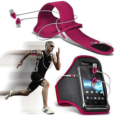 Quality Sports Armband Gym Running Phone Case Cover+In Ear Headphones✔Pink • 6.95£