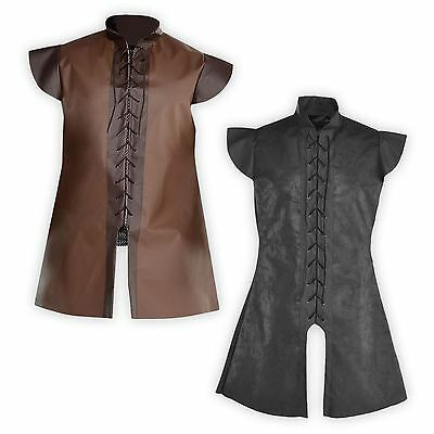 Mens Warrior Game Knight Tunic Jerkin Accessory Leather Look Fancy Dress Costume • 14.88£