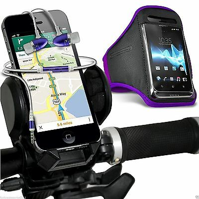 Quality Bike Bicycle Holder+Sports Armband Case Cover+In Ear Headphones✔Purple • 12.95£