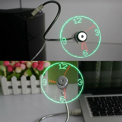 AU8.87 • Buy LED Clock Fan Mini USB Powered Cooling Flashing Real Time Display Function M