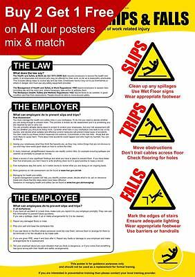 £2.99 • Buy Health And Safety Slips Trips And Falls HSE Poster A4 A3 A2 A1
