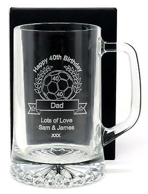 Personalised Football Pint Glass Tankard Gift 18th/21st/30th/40th/Son/Birthday • 15.99£