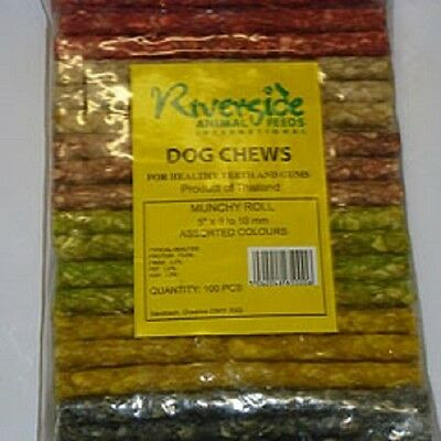 £7.99 • Buy 100 X  MUNCHY ROLL DOG CHEWS FROM RIVERSIDE , TOP QUALITY NATURAL  (100 CHEWS!)