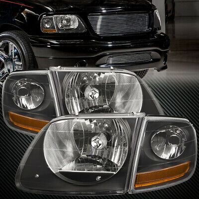 $89.35 • Buy Fits 97-03 Ford F150 Expedition Lightning Svt Harley Black Headlights 4Pc Set
