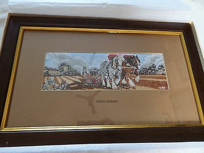 Shire Horses Miniature Woven Silk Picture Boxed • 35£
