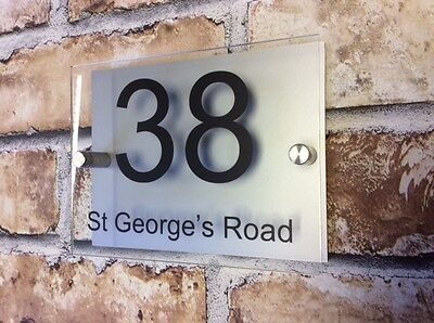 Modern House Sign Plaque Door Number Name Glass  Effect Aluminium Personalised • 7.29£