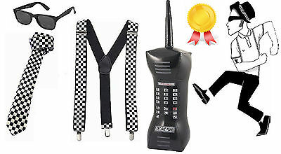 80's Ska Two Tone Instant Kit Mens Women Tie Glasses Braces And Inflatable Phone • 11.99£
