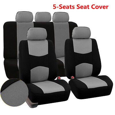 $ CDN30.44 • Buy 9pcs Dirt-proof Wearproof Seat Cover Mesh Polyester Front+Rear Cover Gray Color