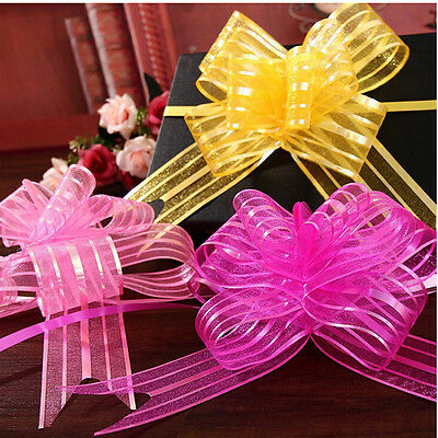 10pcs 50mm Organza Ribbon Pull Bows Wedding Car Decor Gift Wrap Colourful .* • 1.32£