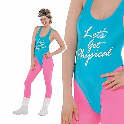 80s Lets Get Physical Costume Ladies Sport Exercise Leotard Fancy Dress Outfit • 14.17£
