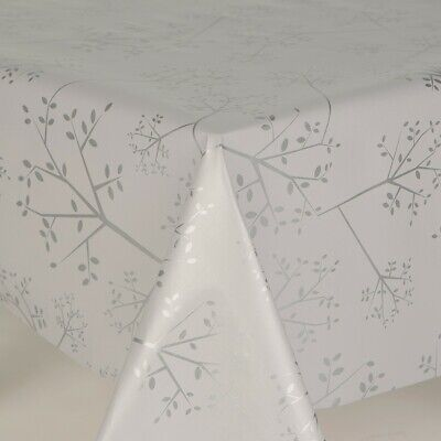 Silver Grey Plain Leaves Stems Pvc Plastic Vinyl Table Cloth Wipe Clean Dining • 11.20£