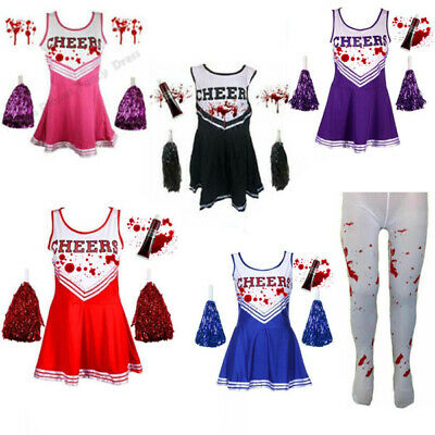 £8.99 • Buy Adults Ladies Zombie Cheerleader Costume + Tights Womens Fancy Dress Outfit Dead