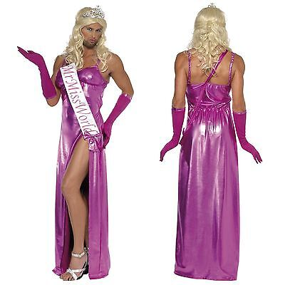 Mens Miss World Beauty Pagent Pink Dress Costume Stag Party Transvestite Drag • 38.37£