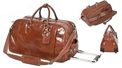 TAN Leather Wheeled Holdall Duffle Gym Cabin Travel Hand Luggage Weekend Bag NEW • 199£