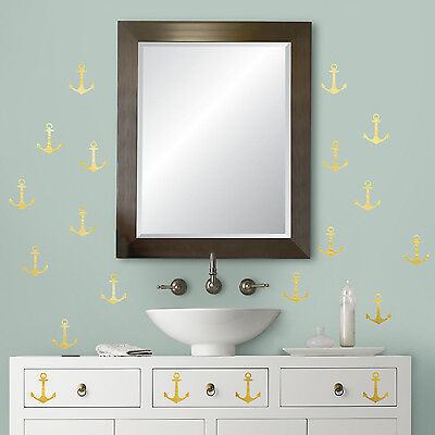 GOLD ANCHORS FOIL WALL DECALS 24 Nautical Peel And Stick Stickers Pirate Decor • 9.30£