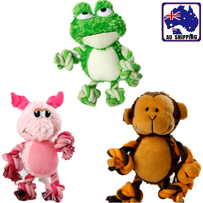 AU8.10 • Buy Pet Puppy Dog Sound Chew Toys Squeaker Squeaky Plush Piggy Monkey Frog PROP605