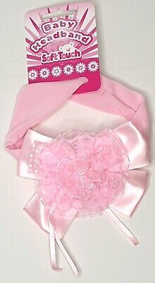 NEW Soft Touch Baby Satin Bow And Lace Flower Headband Pink 100% Polyester • 3.99£