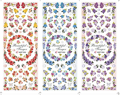 £1.80 • Buy Nail Art Stickers Transfers Decals HOT Series Red Blue Violet Roses 052-054