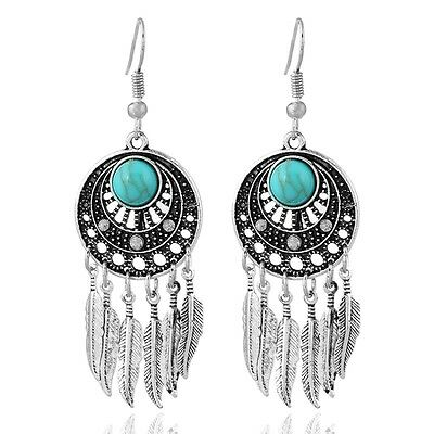 £3.55 • Buy Vintage Style Dream Catcher Silver And Turquoise Feather Chandelier Earrings