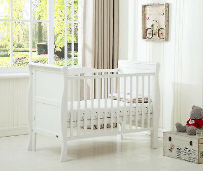£139.99 • Buy MCC® Solid Wooden Cot Bed Savannah Sleigh Cotbed & Water Repellent Mattress
