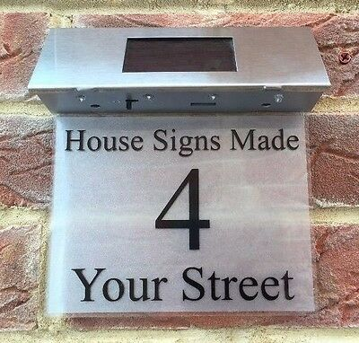 Solar House Sign Address Plaque Door Number Street Lighted Door Numbers Sign Led • 39.99£