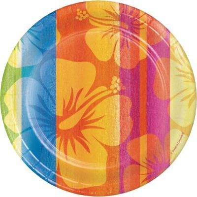 Hawaiian Luau Party Sunset Stripes 7 Inch Paper Plates 18 Pack • 3.08£