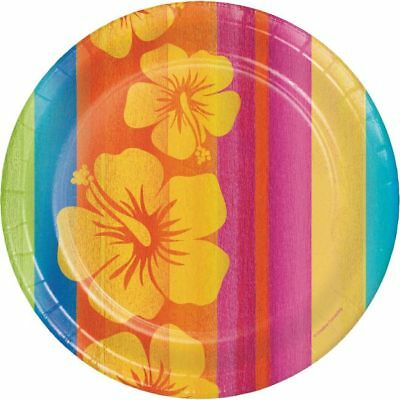 Hawaiian Luau Party Sunset Stripes 9 Inch Paper Plates 18 Pack • 4.24£