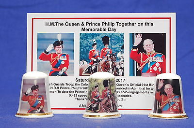 £8.99 • Buy Queen & Prince Philip Together Memorable Day Box Set Of 3 Thimbles+ Card B/137