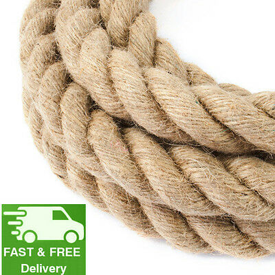32 Mm Thick Jute Rope Twisted Braided Garden Decking Decoration Craft 0.5m -50m • 31.99£