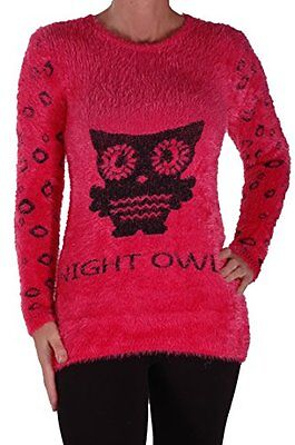 £8.95 • Buy Womens Casual Knitted Long Sleeve Skinny Stretch Owl Print Scoop Neck Sweater