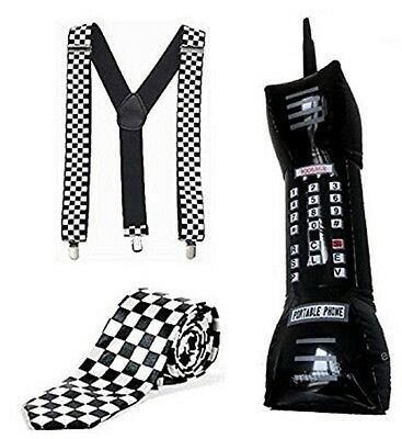 Retro Ska 1980's Chequered Braces, Tie & Inflatable Mobile Phone Fancy Dress • 7.99£