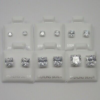 925 Sterling Silver Clear Square Cubic Zirconia CZ Diamante Stud Earrings 3- 8mm • 3.29£