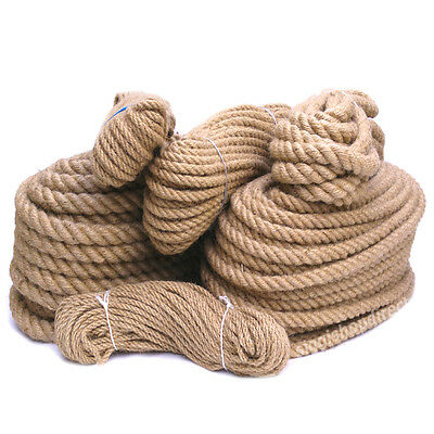5 Metres- 6mm- 60mm Thick Natural Jute Hessian Rope Twisted Cord Twine Diameter  • 8.99£