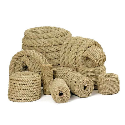 £1.19 • Buy 100% Natural Jute Rope Twisted Braided Decking Garden Boating Sash 6mm - 60mm