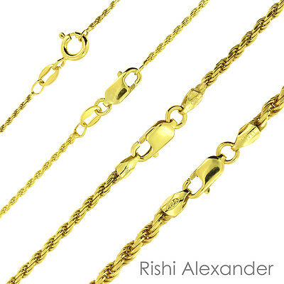 $63.99 • Buy 14K Gold Over 925 Sterling Silver Diamond Cut Rope Chain Necklace All Sizes