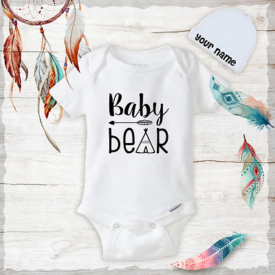 Baby Bear Tepee Boho Baby Clothes Onesies Hat Baby Shower Gift Newborn Funny • 10.69£