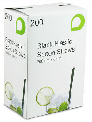 8mm Black Plastic Spoon Straws, Drinking Straws For Slush, Milkshake, Smoothies • 5.95£