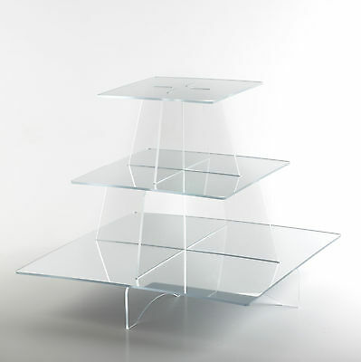 £14.99 • Buy 3 Tier Clear Acrylic Cup Cake Stand With Square Mirrored Shelves Cake Display