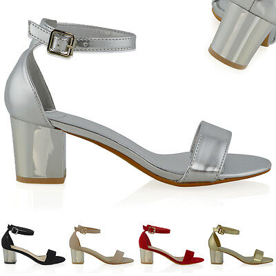 £11.99 • Buy Womens Low Heel Sandals Ladies Ankle Strap Peep Toe Evening Party Shoes Size 3-8
