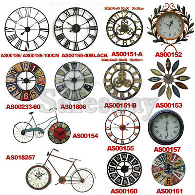 AU46.99 • Buy Large Metal And Wooden Industrial French Provincial Antique Round Wall Clock