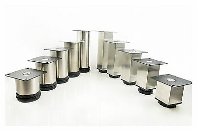 4 Stainless Steel Adjustable Kitchen Cabinet Round / Square Legs Support Counter • 7.99£