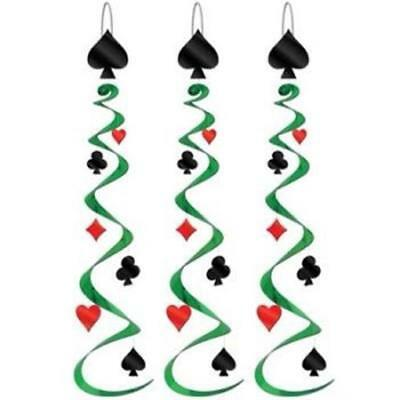 $4.59 • Buy Card Suit Whirls 3 Pack Casino Vegas Gambling Party Hanging Decoration