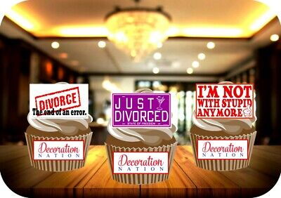 Divorce Funny Trio Mix 12 Edible STANDUP Cake Toppers Decorations Party Split • 2.49£