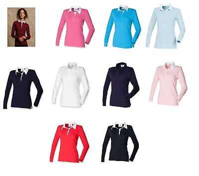 Front Row Womens Ladies Long Sleeve Plain Rugby Shirt  FR101 • 3.99£