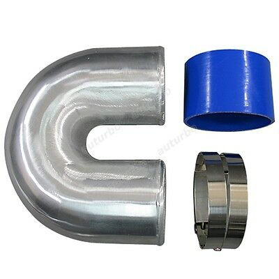 AU71.05 • Buy 4  Cast Aluminium Elbow U 180 Degree Pipe + Hose + Clamp For Intercooler Turbo