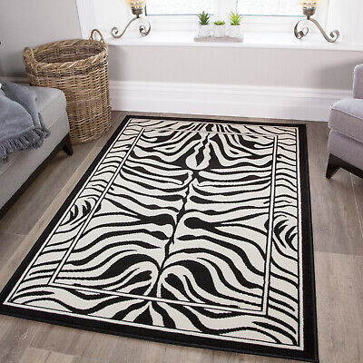 Black White Zebra Print Hide Animal Geometric Living Room Large Small Area Rug • 49.95£