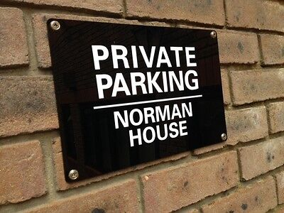 PERSONALISED ACRYLIC PRIVATE NO PARKING KEEP CLEAR SIGN WEATHERPROOF - 4 X Sizes • 7.49£