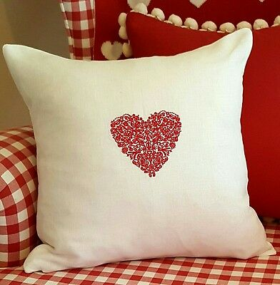 Lace Heart Embroidered Linen French New Monogram Shabby Chic Gift Wedding  • 19.99£